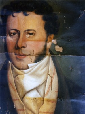 Damaged portrait, during and after restoration